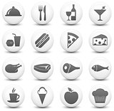 Food Icon on Round Black and White Button Collection