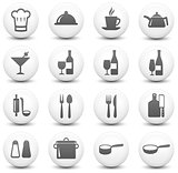 Restaurant Icon on Round Black and White Button Collection