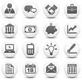Economy Icon on Round Black and White Button Collection