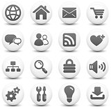 Computer Icon on Round Black and White Button Collection