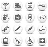 Medical Icon on Round Black and White Button Collection