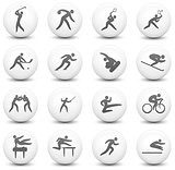 Sport Icon on Round Black and White Button Collection