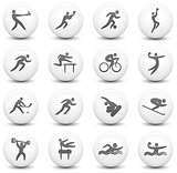 Athlete Icon on Round Black and White Button Collection