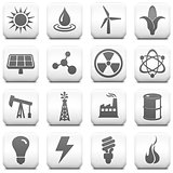 Ecology Icon on Square Black and White Button Collection