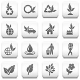 Nature Icon on Square Black and White Button Collection