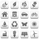 Environment Icon on Square Black and White Button Collection