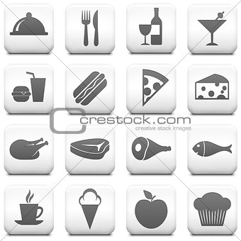 Food Icon on Square Black and White Button Collection