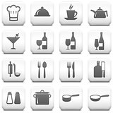Restaurant Icon on Square Black and White Button Collection