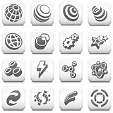 Internet Icon on Square Black and White Button Collection