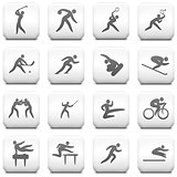 Sport Icon on Square Black and White Button Collection