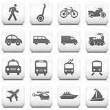 Transportation Icon on Square Black and White Button Collection