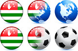 Abhazia Flag Button with Global Soccer Event