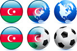 Azerbaijan Flag Button with Global Soccer Event