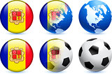 Andorra Flag Button with Global Soccer Event