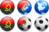 Angola Flag Button with Global Soccer Event