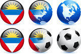 Antigua Flag Button with Global Soccer Event