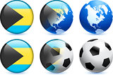 Bahamas Flag Button with Global Soccer Event
