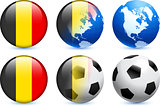 Belgium Flag Button with Global Soccer Event