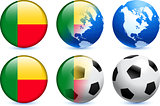 Benin Flag Button with Global Soccer Event