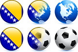 Bosnia and Herzegovina Flag Button with Global Soccer Event