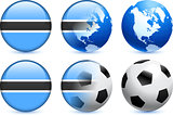 Botswana Flag Button with Global Soccer Event