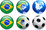 Brazil Flag Button with Global Soccer Event