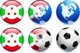 Burundi Flag Button with Global Soccer Event