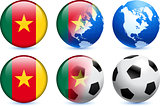 Cameroon Flag Button with Global Soccer Event