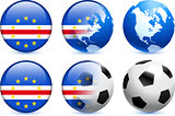 Cape Verde Flag Button with Global Soccer Event