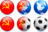 USSR Flag Button with Global Soccer Event