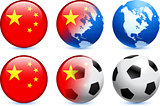 China Flag Button with Global Soccer Event