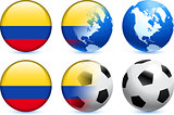 Colombia Flag Button with Global Soccer Event