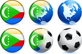 Comoros Flag Button with Global Soccer Event