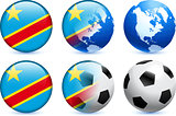 Congo Flag Button with Global Soccer Event