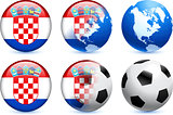 Croatia Flag Button with Global Soccer Event