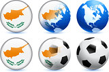 Cyprus Flag Button with Global Soccer Event