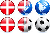 Denmark Flag Button with Global Soccer Event