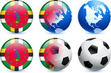 Dominica Flag Button with Global Soccer Event