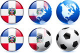 Dominican Republic Flag Button with Global Soccer Event