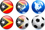 East Timor Flag Button with Global Soccer Event