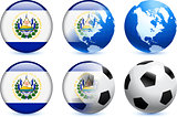 El Salvador Flag Button with Global Soccer Event