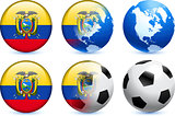 Ecuador Flag Button with Global Soccer Event