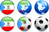 Equatorial Guinea Flag Button with Global Soccer Event