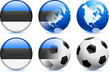 Estonia Flag Button with Global Soccer Event
