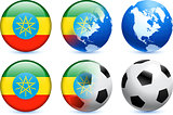 Ethiopia Flag Button with Global Soccer Event