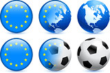European Union Flag Button with Global Soccer Event