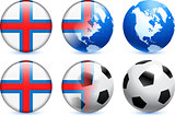 Faroe Islands Flag Button with Global Soccer Event