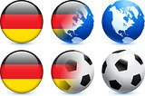 Germany Flag Button with Global Soccer Event