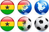 Ghana Flag Button with Global Soccer Event