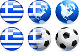 Greece Flag Button with Global Soccer Event